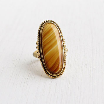 Vintage Brown Stone Ring - Signed Avon Statement Gold Tone Faux Agate Tigers Eye 1970s Jewelry / Shimmering Sands