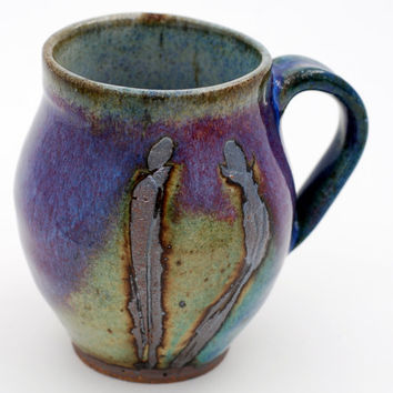 10 oz. Stoneware Mug / Coffee Cup - Handmade  mug by Elena Madureri.10 oz. Mug, Ceramic Coffee Mug, Pottery, Handmade, Blue Green Cup 10 oz.