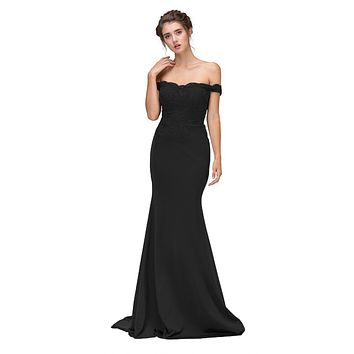 CLEARANCE - Lace Appliqued Bodice Long Formal Dress Off-Shoulder Black (Size 2XL)