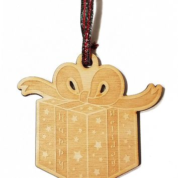 Happy Holidays Present Laser Engraved Wooden Christmas Tree Ornament Gift Seasonal Decoration