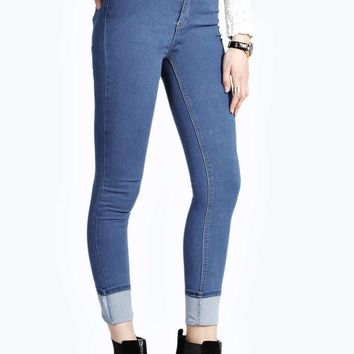 Jess Blue High Rise Extreme Cuff Skinny Jeans