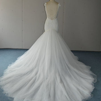 Sweetheart Neckline Backless Mermaid Wedding Dress with Lace Bodice Bridal Gowns