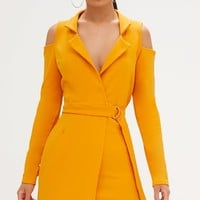 Mustard Cold Shoulder Blazer Dress