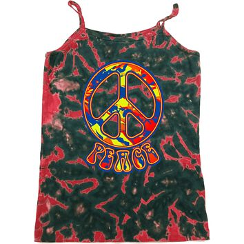 Ladies Peace Tank Top Funky 70's Peace Sign Tie Dye Camisole