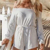 Grey White Striped Off The Shoulder Romper