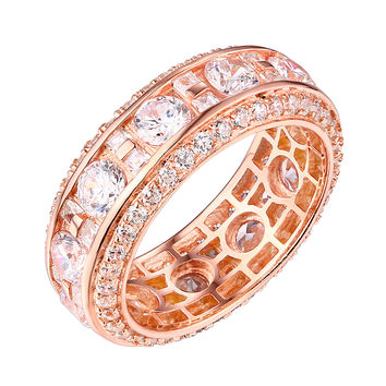 Womens Bridal Engagement Ring Rose Gold On Sterling Silver Eternty Cubic Zircon