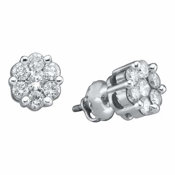 14k White Gold Women's Round Diamond Flower Cluster Screwback Stud Earrings 1.00 Cttw - FREE Shipping (USA/CAN)