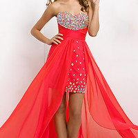 Beaded Strapless High Low Dress