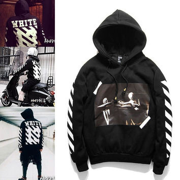OFF WHITE 13 mens pullover stripe offset print hoodies fleece Sweatshirts brand HBA Vision religion painting