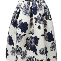 LE3NO Womens High Waisted Flared Pleated Floral Midi Skirt