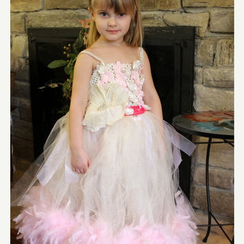 SALE Tutu dress white and ivory tulle and organza dress, light pink flower embellishments with feathers, flower girl tulle tutu dress