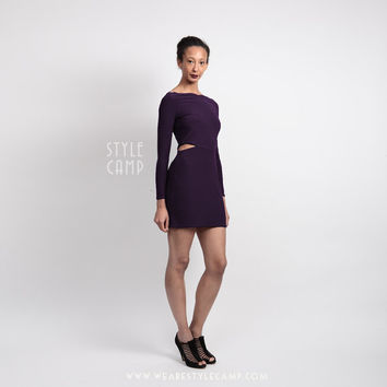 Clara Vampy Mini Dress with Cut Outs in Purple