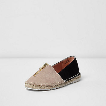 Girls cream zip front espadrille plimsolls