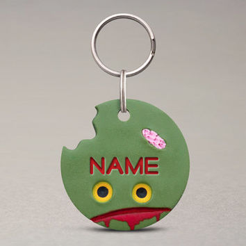 Zombie Pet ID Tag - For Cats And Dogs, Halloween Pet Accessories, Collar Tag