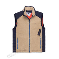 Tommy Hilfiger Vest Nomad Navy Blue & Tan Sherpa Full Zip