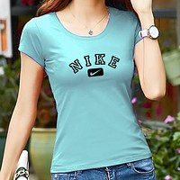 NIKE Summer Popular Women Casual Round Collar T-Shirt Top Blue