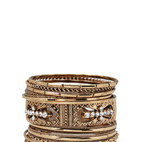 FOREVER 21 Rhinestoned & Etched Bangle Set Burnished Gold