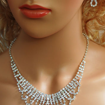 """Bridal Wedding Prom Pageant Crystal Necklace and Earring Set, 18"""" with Adjustable Chain N1Y97"""