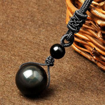 Black Obsidian Rainbow Eye Ball Necklace Transfer Lucky Love Natural Stone Buddhism Pendant Neclaces for Women Men four Sizes