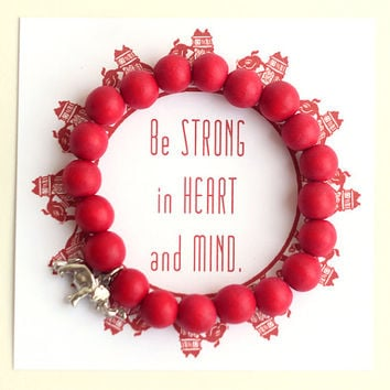 Red Wooden Beads with an Elephant Charm Yogini Bracelet