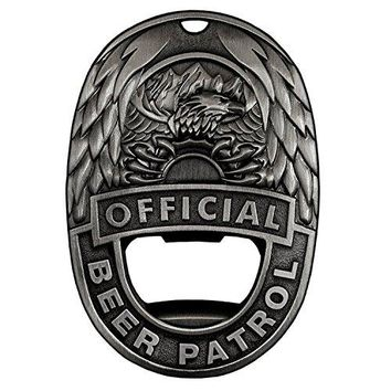 OFFICIAL BEER PATROL ndash MAGNETIC BOTTLE OPENER BEER BADGE WITH RARE EARTH MAGNET AND MONEY CLIP VINTAGE STEEL