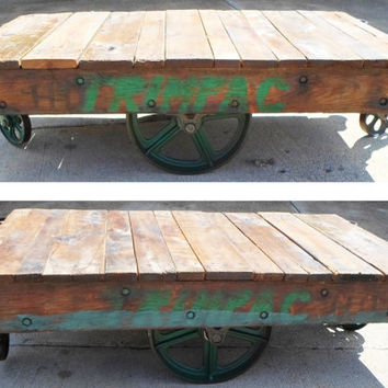 Antique, Industrial, Factory, Cart, Warehouse, Coffee Table, Vintage, Rail Road, Rocker, Nutting Truck, Rolling, Green