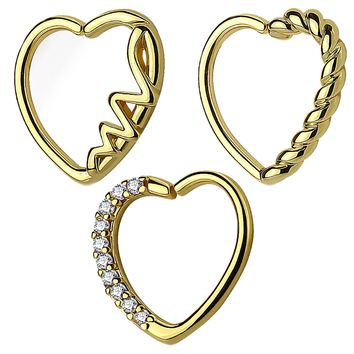 BodyJ4You 3PCS 16G (1.2mm) Daith Ear Piercing Heart Shape Goldtone Tragus Helix Earring Cartilage Hoop Set
