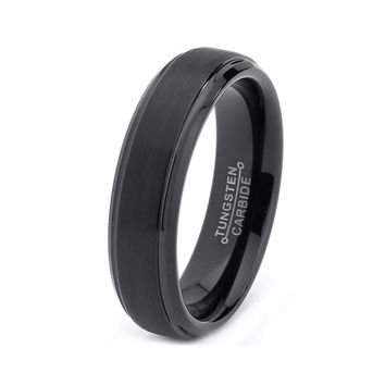 Tungsten Wedding Band,6mm,Black Wedding Band,Mens Wedding Band,Engraving,Anniversary,Brushed,Polish,Size,Mens Ring,Mans,Rings,Set,His Hers