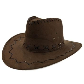 Cowboy Hats for Women with The Fields Sombreros Mujer Western American Mens Sombrero Vaquero Faux Suede Triple Strings YY17162
