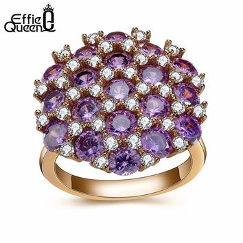Effie Queen Engagement Ring for Women Wedding Band Purple Color Zircon Crystal Rings for Women anillos DDR08