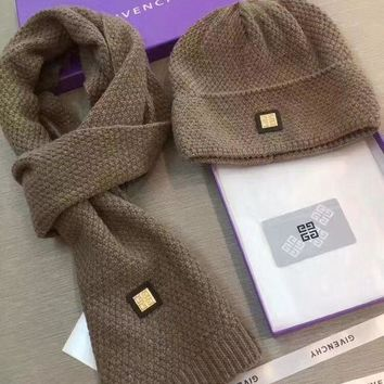 ICIKW Givenchy Beanies Winter Knit Hat Cap Cape Scarf Scarves Set Two-Piece