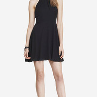 BLACK FIT AND FLARE HALTER DRESS from EXPRESS