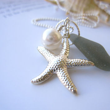 Sea Glass Starfish Necklace in Rare Grey sea glass - Beautiful mermaid jewelry Genuine sea glass FREE SHIPPING