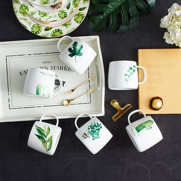 Creative Ceramics Turtle Cactus Fresh Plant Pattern Mug Office Simple Milk Coffee Cup Gift Couple Cup 12.5*8.5*8.7CM Newest