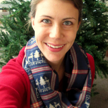 Blue, White, & Red Flannel, Handmade, Infinity Scarf