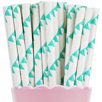 Turquoise Pennant Paper Straws