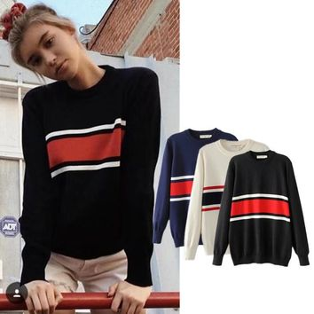 Women's Fashion Stripes Sweater Winter Bottoming Shirt [42066837519]