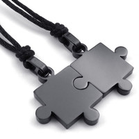 Stainless Steel Grey Fitted Puzzle Pieces Couple Necklaces (1 Pair)
