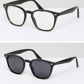 ASOS 2 Pack Square Geeky Clear Lens & Sunglasses at asos.com