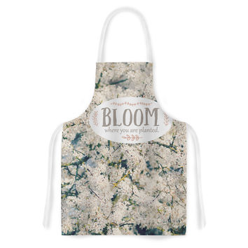"""Robin Dickinson """"Bloom Where You Are Planted"""" White Floral Artistic Apron"""