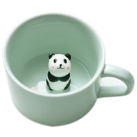 Creative small ceramic milk mug with animals cute three-dimensional coffee cup Heat-resistant Celadon cup nice gift-Red Panda
