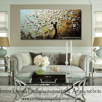 "CUSTOM Art Abstract Painting White Cherry Tree Blossoms Flowers Textured Palette Knife Large Wall Decor Blue Brown Gold 48x24"" -Christine"
