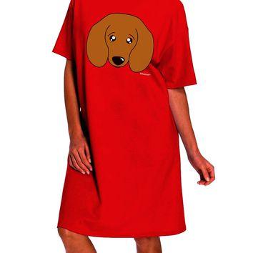 Cute Doxie Dachshund Dog Dark Adult Night Shirt Dress by TooLoud