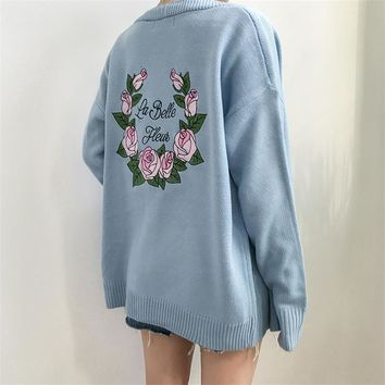 Loose Vintage Embroidered Flower Sweater Cardigan Women's Sweaters Japan Harajuku Female Korean Kawaii Retro Jacket For Women