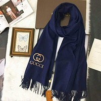 GUCCI  Fashion Women Men Leisure Embroidery Logo Letter Accessories Cape Scarves Scarf(3-Color) Blue I-TMWJ-XDH