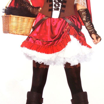 Leg Avenue Rebel Red Riding Hood Large Sexy Halloween Costume Dress Cape 85445