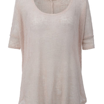 Womens Lightweight Dolman 3/4 Sleeve Knit Loose Tunic Top