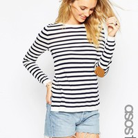ASOS Tall | ASOS TALL Sweater In Stripe With Oval Tan Suede Elbow Patch at ASOS