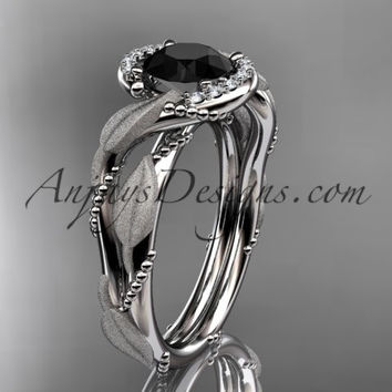 14kt white gold diamond leaf and vine wedding ring, engagement ring with Black Diamond center stone ADLR65