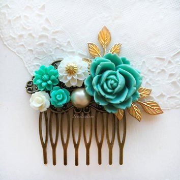 Turquoise Wedding Hair Comb, Bridal Hair Pin, Aquamarine Flower Gold Leaf Hair Clip, Seafoam Hair Slide, Bridesmaid Gift